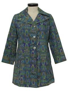 1960's Womens Hippie Style Car Coat Jacket