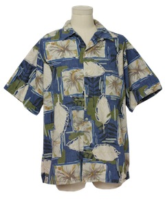1990's Mens Reverse Print Hawaiian Shirt