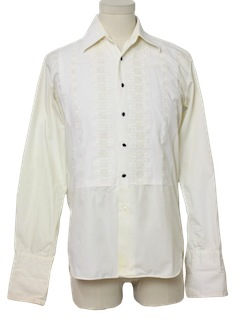 1980's Mens Tuxedo Style Hippie Shirt