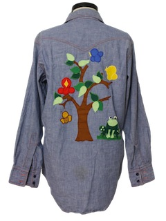 1970's Unisex Embroidered Western Chambray Hippie Shirt