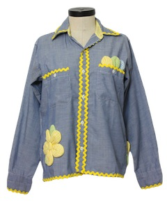 1970's Womans Chambray Hippie Shirt