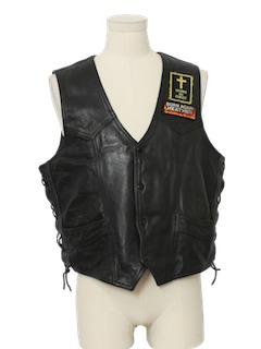 1990's Mens Motorcycle Club Leather Vest