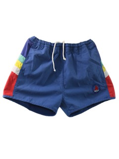 1980's Mens Totally 80s Rainbow Style Swim Shorts