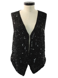 1980's Womens Totally 80s Beaded Cocktail Shirt Vest