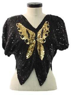 1980's Womens Totally 80s Butterfly Sequined Cocktail Shirt