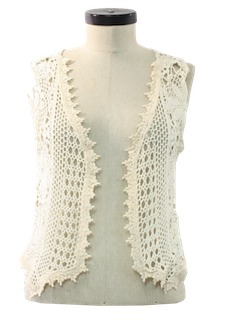 1980's Womens Crocheted Hippie Vest