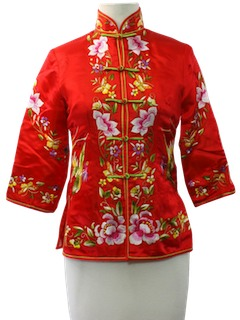 1980's Womens Embroidered Chinese Style Shirt
