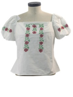 1950's Womens Embroidered Peasant Hippie Shirt