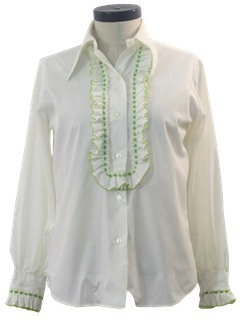 1960's Womens Ruffled Tuxedo Style Shirt