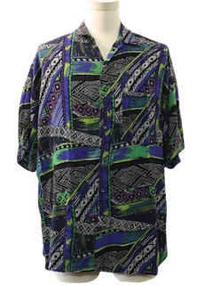1980's Mens Totally 80s Ugly Print Sport Shirt