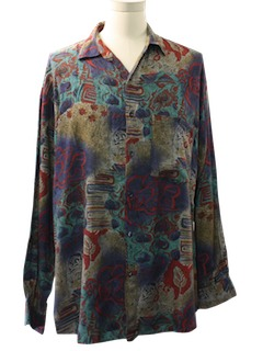 1990's Mens Wicked 90s Print Sport Shirt