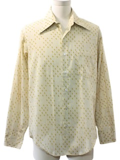 1970's Mens Polyester and Cotton Print Disco Style Shirt