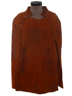 1970's Womens Hippie Leather Hippie Poncho Cape Jacket