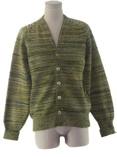 1970's Mens Mod Cardigan Sweater