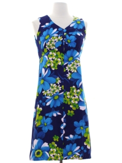 1970's Womens A-Line Mod Hawaiian Dress
