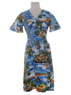 1980's Womens A-Line Hawaiian Dress