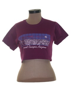 1980's Womens Totally 80s Tourism Crop Top T-Shirt