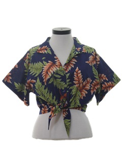 1980's Womens Crop Top Totally 80s Hawaiian Shirt