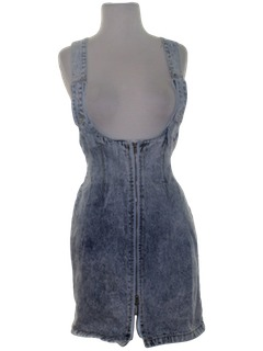 1980's Womens Totally 80s Acid Washed Romper Skirt Dress