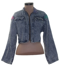 1980's Womens Totally 80s Acid Washed Jacket