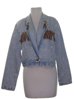 1980's Womens Western Style Totally 80s Cropped Denim Jacket