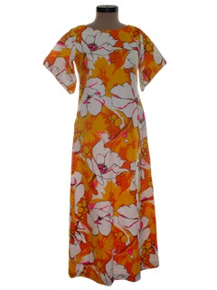 1960's Womens A-Line Mod Hawaiian Maxi Dress