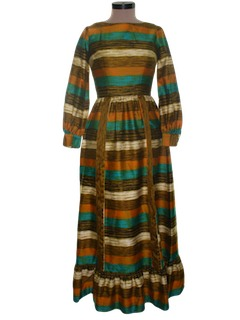 1960's Womens Hippie Hawaiian Maxi Dress