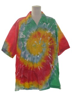 1980's Mens Hippie Guayabera Shirt
