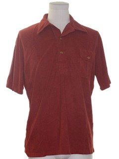 1980's Mens Totally 80s Polo Cut Velour Shirt