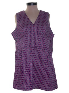 1970's Womens Micro Mini Mod Knit Tunic Dress