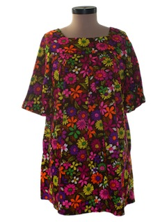 1970's Womens Mod Mini Hawaiian Dress