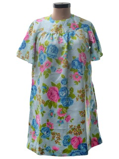 1960's Womens Mini Hawaiian Muu Muu Dress