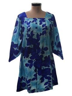 1970's Womens Mini Hawaiian Muu Muu Dress