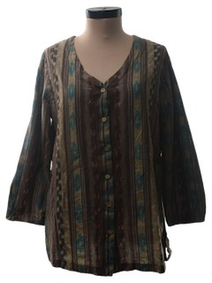 1990's Womens Tunic Hippie Shirt