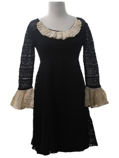 1960's Womens Mod Lace Overlay Dress