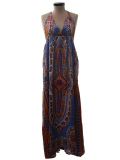 1970's Womens Hippie Dashiki Print Dress