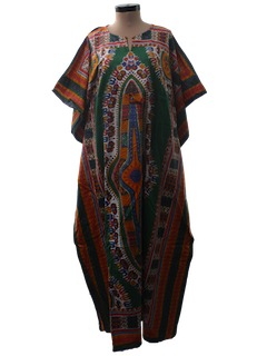 1970's Womens Hippie Dashiki Print Caftan Dress