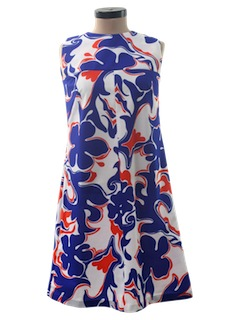 1970's Womens Mod Hawaiian A-Line Dress