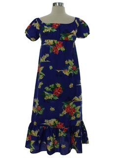 1980's Womens/Girls A-Line Hawaiian Muu Muu Dress
