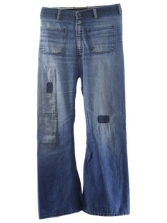 1970's Mens Distressed Navy Style Bellbottom Jeans Pants