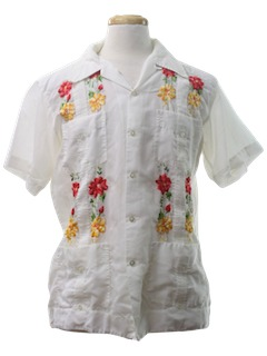 1970's Mens Guayabera Mexican Wedding Shirt