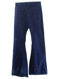 1970's Mens Navy Style Bellbottom Jeans Pants