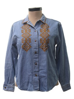 1980's Womens Denim Hippie Shirt