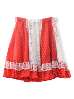 1970's Womens Christmas Red and White Mini Skirt