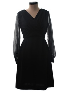 1970's Womens Little Black Cocktail Dress
