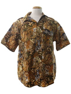 1990's Mens Animal Print Safari Shirt