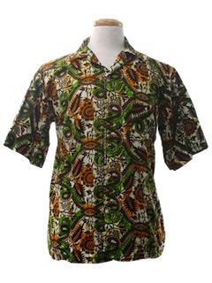 1980's Mens Batik Sport Shirt