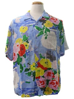 1980's Mens Hawaiian Inspired Sport Shirt