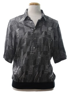 1980's Mens Print Golf Resort Wear Shirt