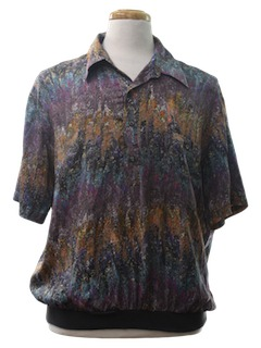 1990's Mens Print Golf Resort Wear Shirt